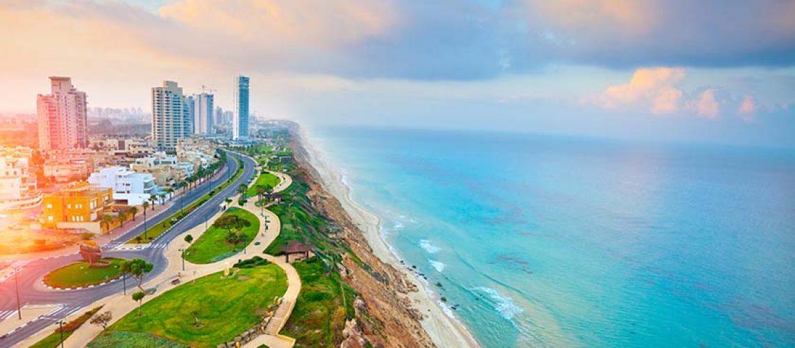 תמונת אווירה נוף ובניינים חוף נתניה